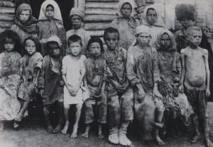 Starving Russian children in the Volga region circa 1921 to 1922