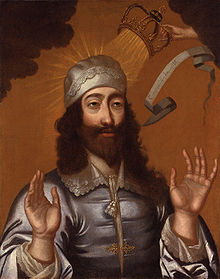 Charles I receiving crown from God