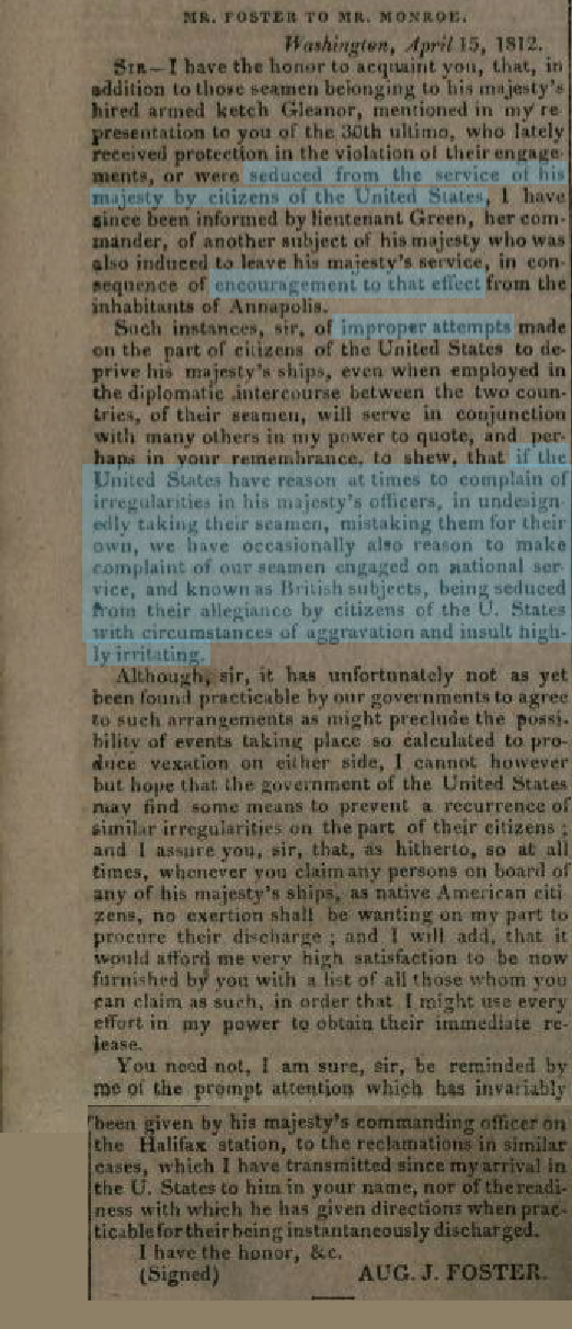 Note from John Augustus Foster to James Monroe