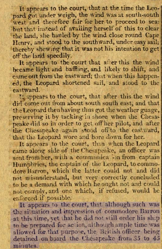 Court of Enquiry Into Leopard-Chesapeake Affair - Part 2