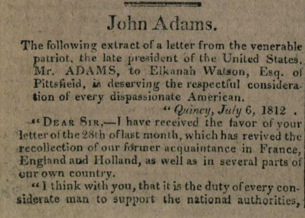 John Adams on the justice of the War of 1812