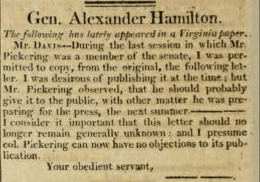 Hamilton's Views on The Presidency and Government