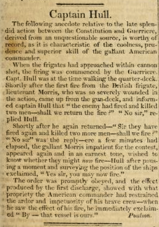 A Brief Account of Isaac Hull's Single Ship Action with HMS Guerriere
