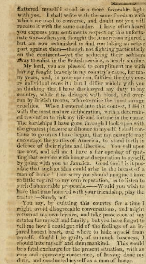 An interesting correspondence between Moultrie and Montagu