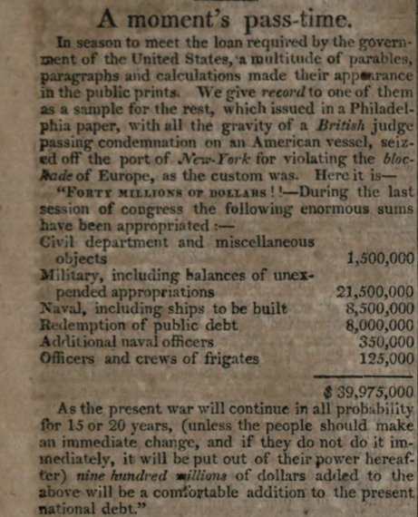 A Laughable Economic Estimate of the Cost of the War of 1812 from the Niles Register