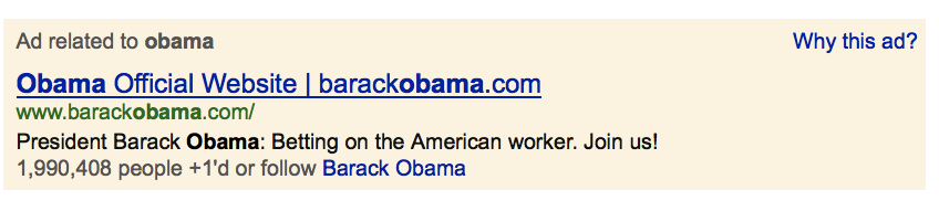 Google Ad for Obama