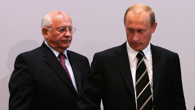 Gorbachev and Putin - (Andreas Rentz/Getty Images)