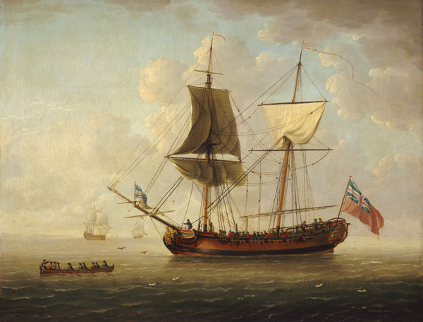 A brigantine in a calm sea